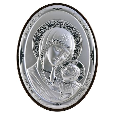 Icoana placata cu argint - Maica si pruncul - Ortodox oval finisaj alun