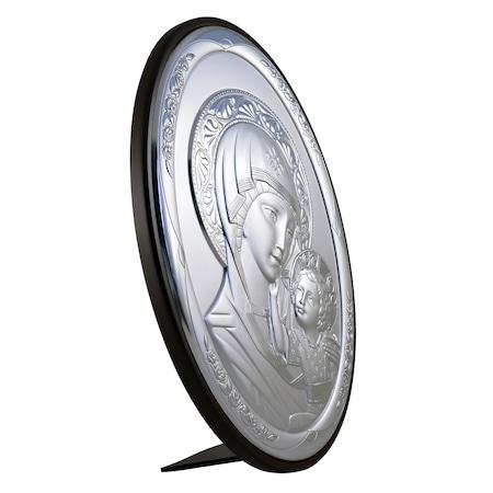 Icoana placata cu argint – Maica si pruncul – Ortodox oval finisaj alun1