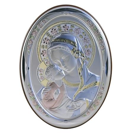 Icoana placata cu argint, pictata manual - Maica si pruncul - Flori roz, oval, furnir