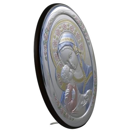 Icoana placata cu argint, pictata manual – Maica si pruncul – Flori roz, oval, furnir1